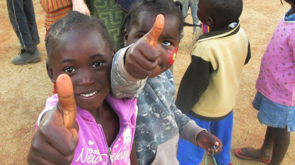 Thumbs up for children in Africa